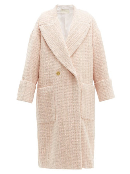 Alexandre Vauthier - Oversized Wool Blend Bouclé Tweed Coat - Womens - Light Pink