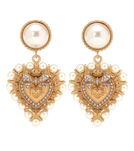 Dolce & Gabbana Embellished clip on drop earrings in gold