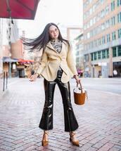 jacket,blazer,wool,jacquemus,pumps,flare pants,black vinyl pants,turtleneck,brown bag,bucket bag