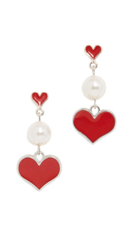 Venessa Arizaga Happy Heart Earrings in red