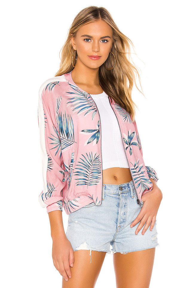 BB Dakota Palm Before A Storm Bomber Jacket in pink