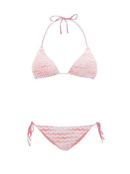 Missoni Mare - Zigzag Knitted Halterneck Bikini - Womens - Pink