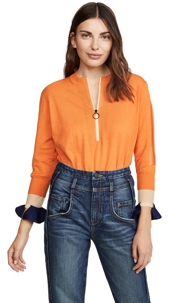 Toga Pulla High Gauge Knit Zip Top in orange