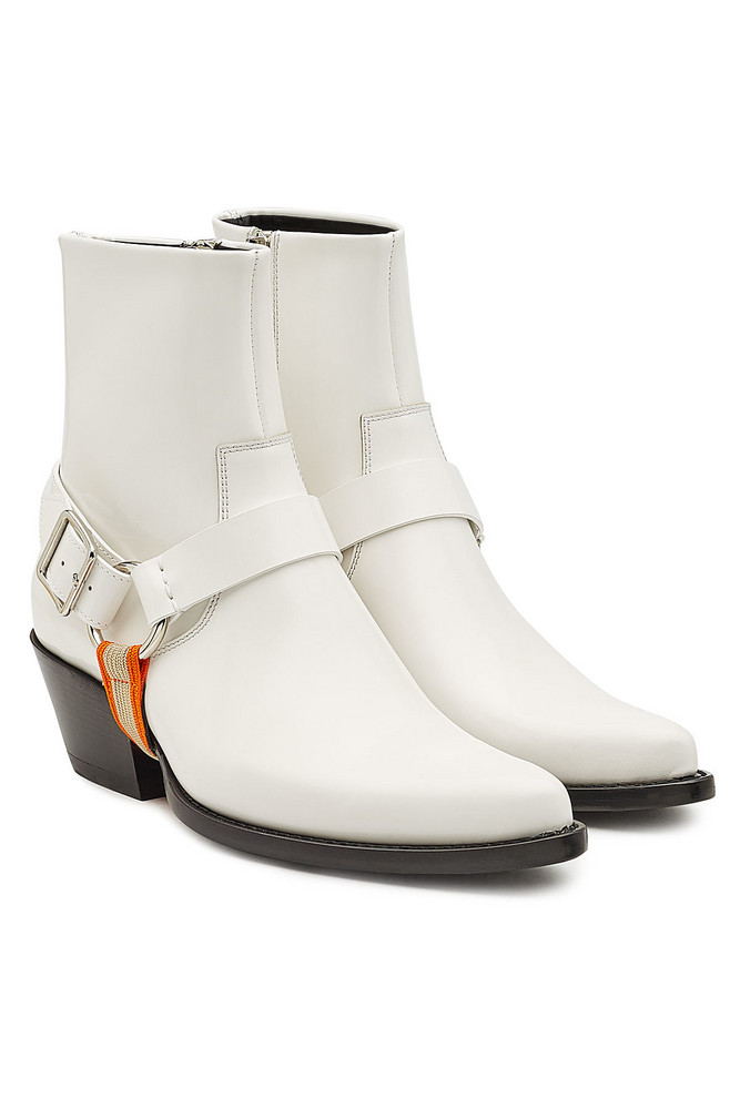 CALVIN KLEIN 205W39NYC Tex Harness Leather Ankle Boots  in white