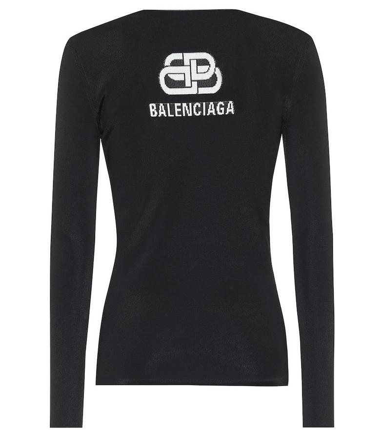 Balenciaga Logo intarsia sweater in black