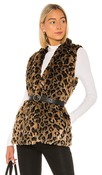 Velvet by Graham & Spencer Stephie Faux Fur Vest in Brown