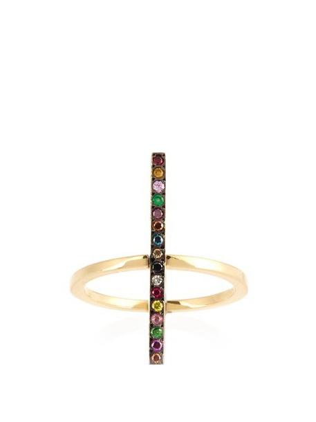 Ileana Makri - Rainbow Stones & Yellow Gold Ring - Womens - Yellow Gold