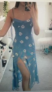 dress,light blue,white flowers dress floral