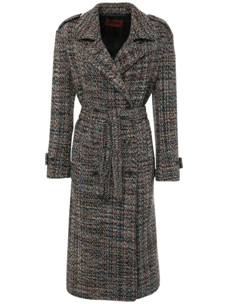 MISSONI Wool Blend Knit Double Breast Coat