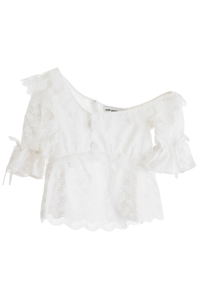 self-portrait Lace Top in ivory / white