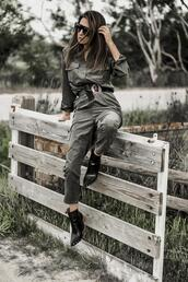 shoes and basics,blogger,jumpsuit,sunglasses,shoes,spring outfits,ankle boots
