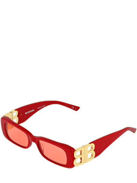 BALENCIAGA Dynasty Rectangle Acetate Sunglasses in red