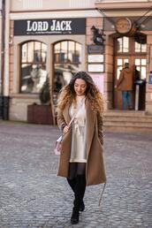kolorowa dusza,blogger,coat,dress,cardigan,bag,jewels,tights,shoes