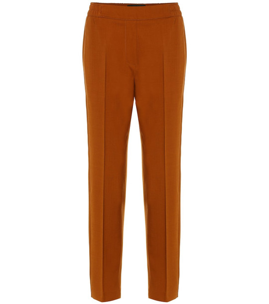 Etro Stretch-cotton straight pants in brown