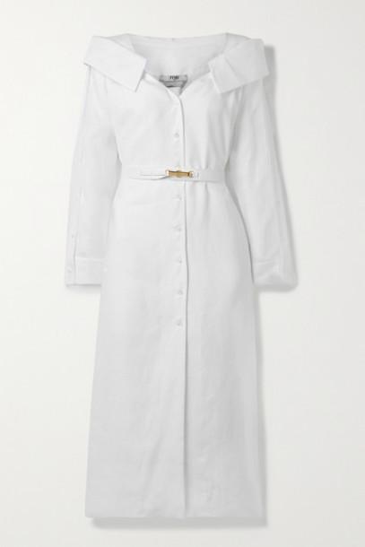 Fendi - Off-the-shoulder Belted Linen-voile Midi Shirt Dress - White