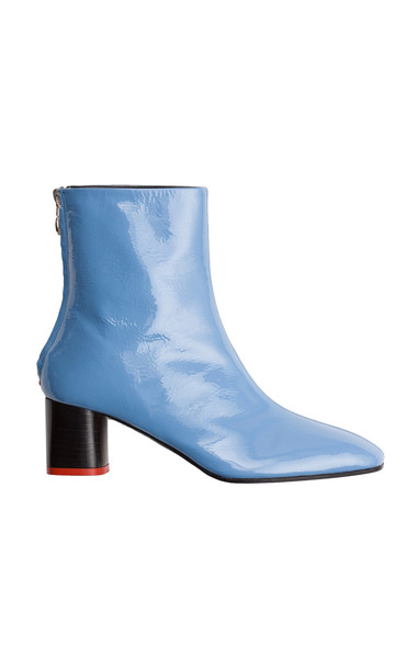 Aeyde Florence Patent Booties in blue