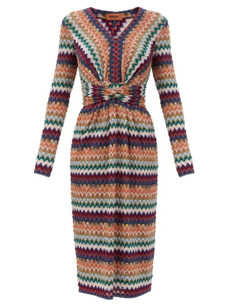 Missoni - Glitter-chevron Twisted-waist Wool-blend Dress - Womens - Burgundy Multi