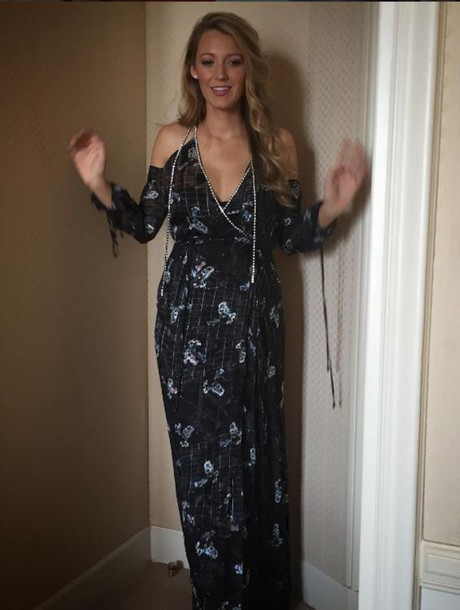 dress blake lively gown maxi dress off the shoulder