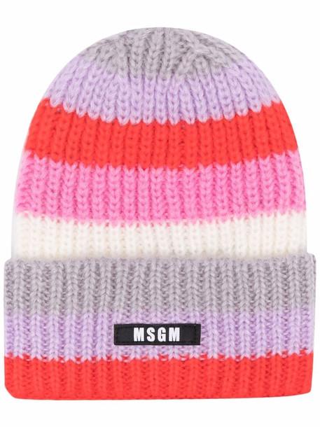 MSGM stripe-knit beanie hat - Red