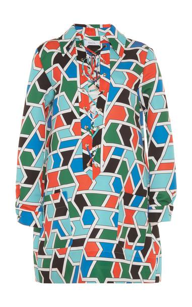 Racil Sahara Lace Up Front Mini Dress in multi