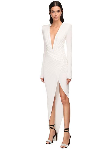 ALEXANDRE VAUTHIER V Neck Draped Stretch Jersey Long Dress in white