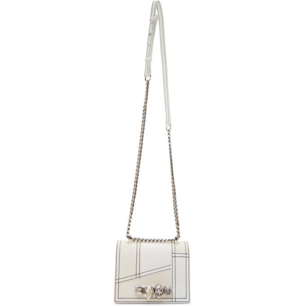 Alexander McQueen Off-White Denim Small Jewelled Satchel Bag