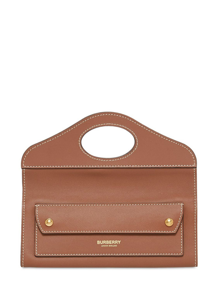 BURBERRY Mini Pocket Leather Bag in brown