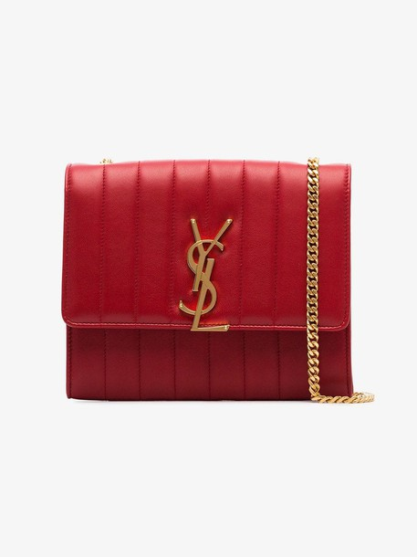 Saint Laurent red vicky quilted leather clutch bag