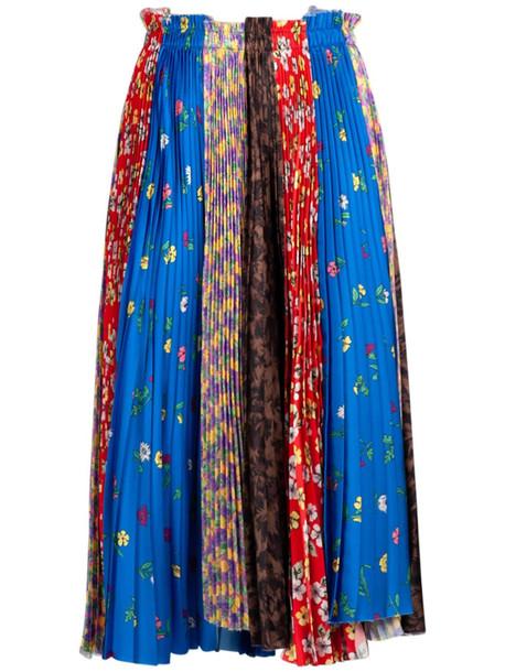 BALENCIAGA Satin Printed Plisse Skirt in purple / yellow