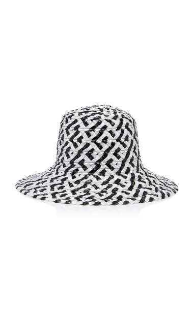 Eugenia Kim Stevie Patterned Straw Bucket hat in black / white