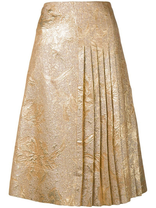 Rochas brocade pleated skirt in gold