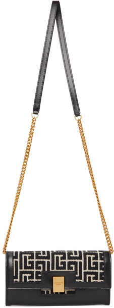 Balmain Black & White Jacquard 1945 Chain Wallet Shoulder Bag