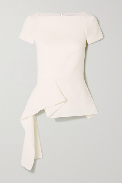 Roland Mouret - Newhall Draped Wool-crepe Peplum Top - White