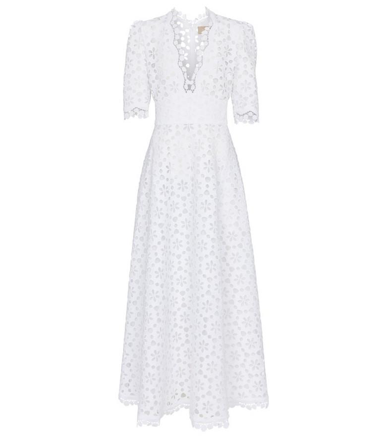 Elie Saab Macramé midi dress in white