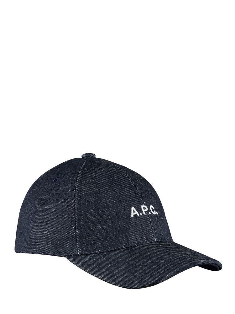 A.P.C. Logo Denim Baseball Hat in indigo