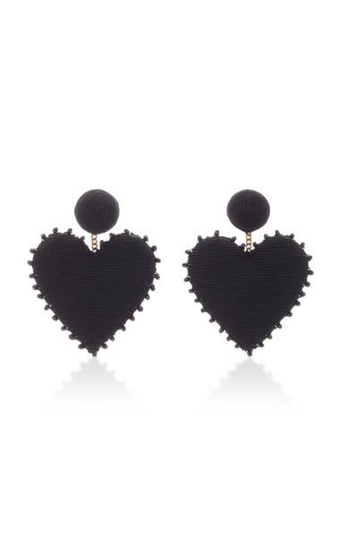 Rebecca de Ravenel Cora Crystal-Embellished Silk Cord Earrings in black