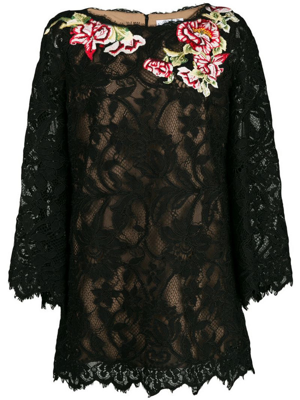 Marchesa floral lace embroidered blouse in black
