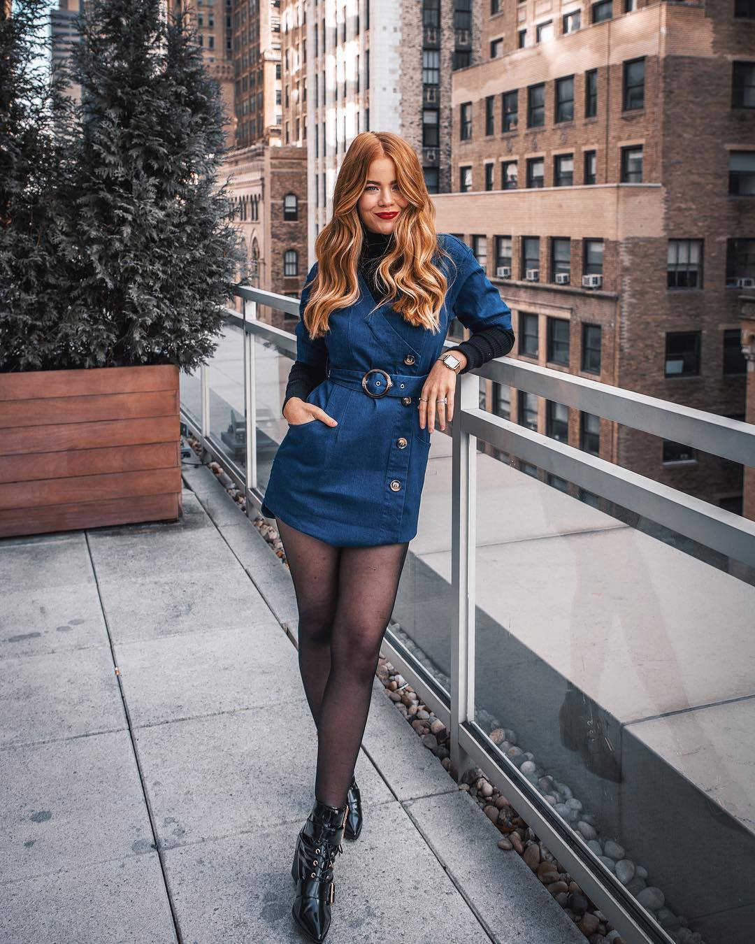 shoes patent boots ankle boots black boots tights denim dress wrap dress belted dress black turtleneck top