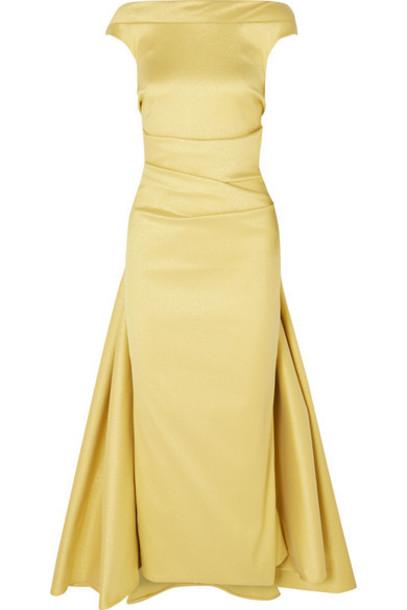 Talbot Runhof - Tomislava Gathered Metallic Stretch-gazar Dress - Pastel yellow
