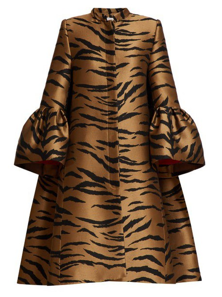 Carolina Herrera - Trumpet Sleeve Tiger Jacquard Opera Coat - Womens - Brown Multi