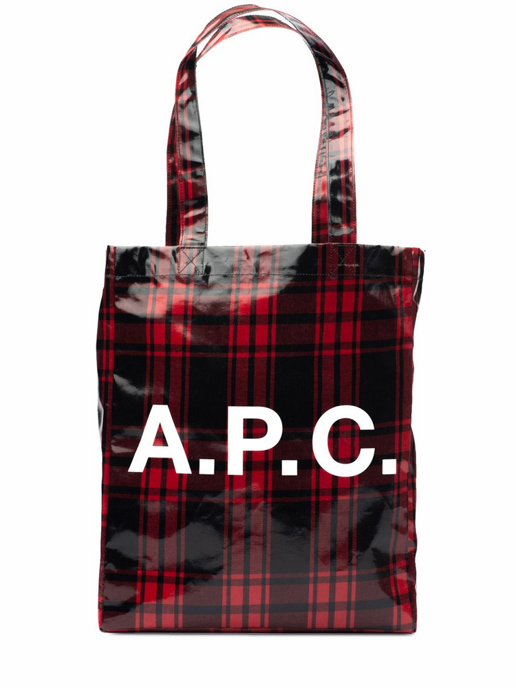 A.P.C. Lou Logo Check Printed Tech Tote Bag in red