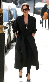 top,all black everything,celebrity,victoria beckham,pants,trench coat,coat