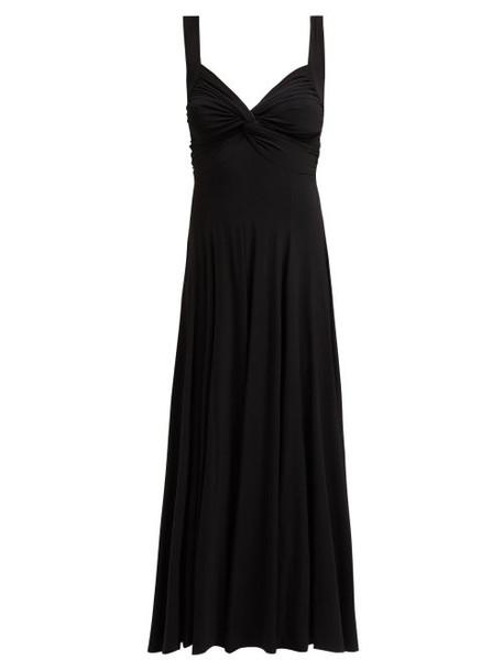 Norma Kamali - Ruched Flared Jersey Midi Dress - Womens - Black