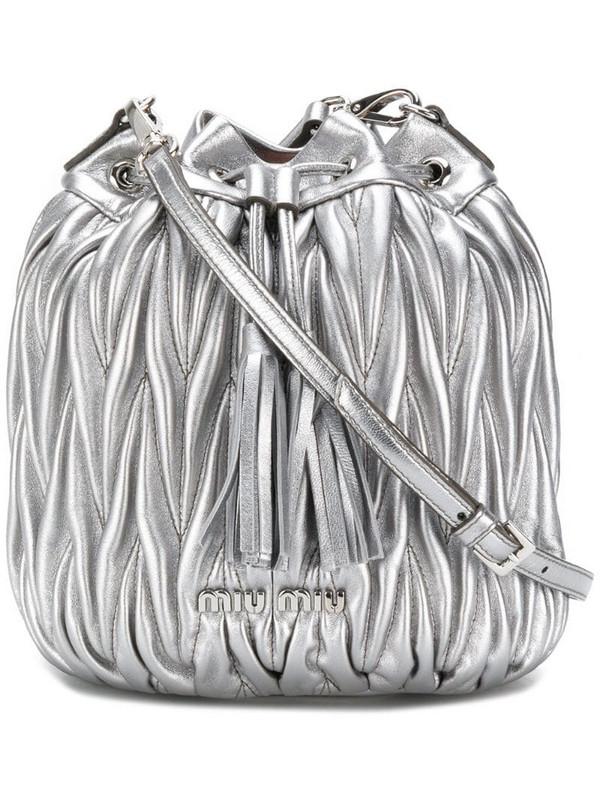 Miu Miu matelassé bucket bag in metallic