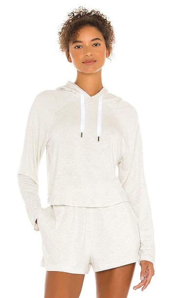 Calvin Klein Underwear Long Sleeve Hoodie in Ivory