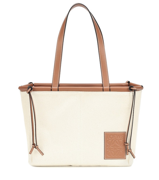 Loewe Cushion Small canvas and leather tote in beige