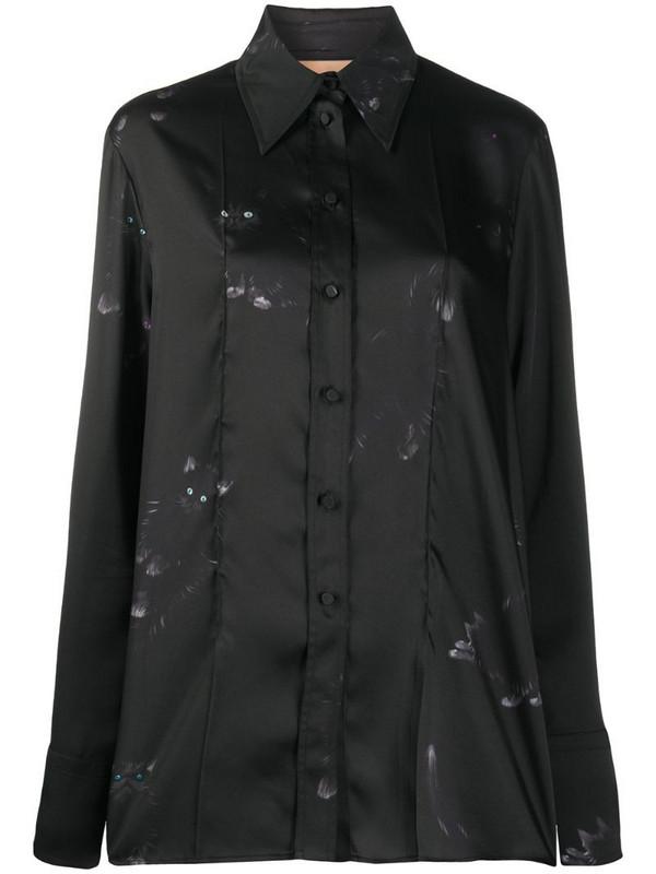 Ssheena long cat-print shirt in black