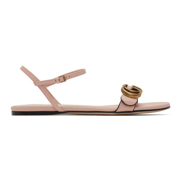 Gucci Pink Leather GG Sandals