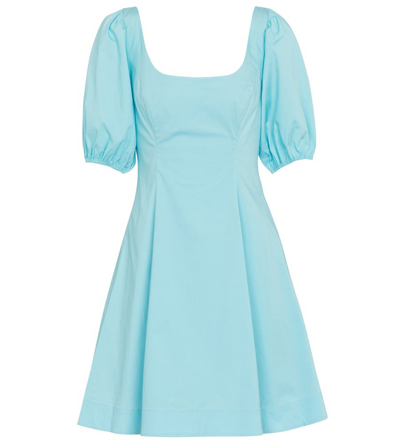 Staud Laelia stretch-cotton minidress in blue