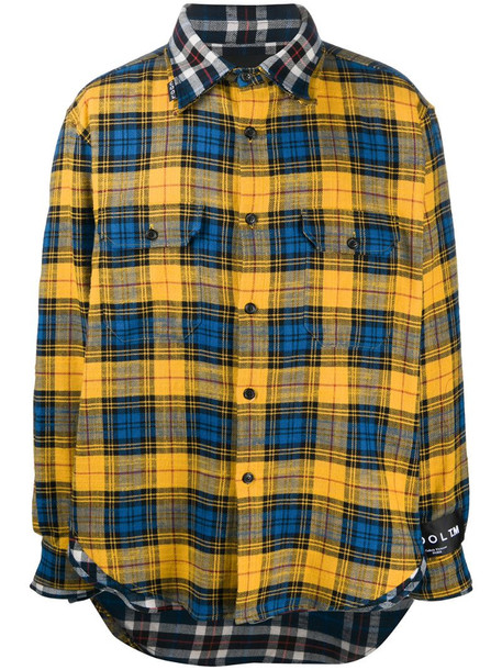 COOL T.M check button-up shirt in yellow